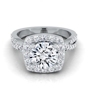 Diamond Square Halo Engagement Ring With Twisted Pave Shank In Platinum (3/8 Ct.tw.)
