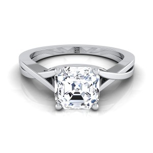 Asscher Cut Diamond Solitaire Engagement Ring With Cathedral Setting In 14k White Gold