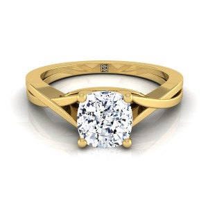 Cushion Cut Diamond Solitaire Engagement Ring With Cathedral Setting In 18k Yellow Gold