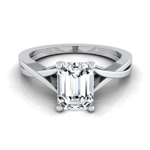 Emerald Cut Diamond Solitaire Engagement Ring With Cathedral Setting In 14k White Gold