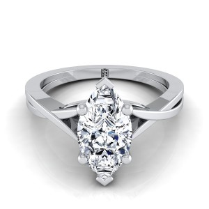 Marquise Diamond Solitaire Engagement Ring With Cathedral Setting In 14k White Gold
