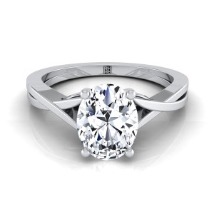 Oval Diamond Solitaire Engagement Ring With Cathedral Setting In 14k White Gold