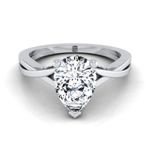 Pear Shape Diamond Solitaire Engagement Ring With Cathedral Setting In 14k White Gold