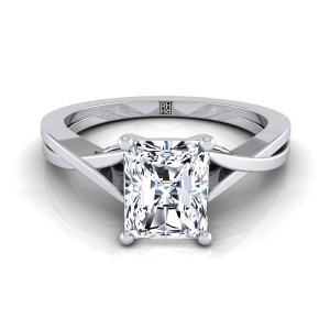 Radiant Cut Diamond Solitaire Engagement Ring With Cathedral Setting In 14k White Gold