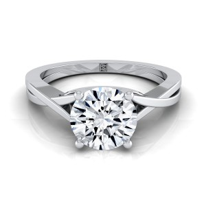 Diamond Solitaire Engagement Ring With Cathedral Setting In 14k White Gold