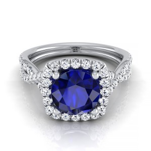 Sapphire Round Center With Diamond Square Halo Engagement Ring And Twisted Pave Shank In 14k White Gold (3/8 Ct.tw.)