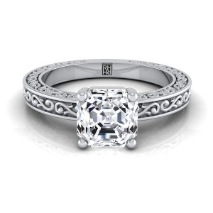 Asscher Cut Diamond Solitaire Engagement Ring With Scroll Detail Shank In 14k White Gold