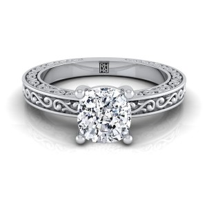 Cushion Cut Diamond Solitaire Engagement Ring With Scroll Detail Shank In 14k White Gold