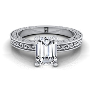 Emerald Cut Diamond Solitaire Engagement Ring With Scroll Detail Shank In 14k White Gold