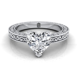 Heart Shape Diamond Solitaire Engagement Ring With Scroll Detail Shank In 14k White Gold