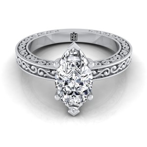Marquise Diamond Solitaire Engagement Ring With Scroll Detail Shank In 14k White Gold