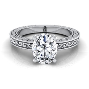 Oval Diamond Solitaire Engagement Ring With Scroll Detail Shank In 14k White Gold