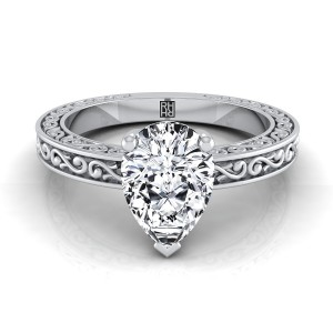Pear Shape Diamond Solitaire Engagement Ring With Scroll Detail Shank In 14k White Gold