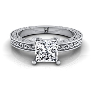 Princess Cut Diamond Solitaire Engagement Ring With Scroll Detail Shank In 14k White Gold