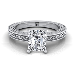 Radiant Cut Diamond Solitaire Engagement Ring With Scroll Detail Shank In 14k White Gold