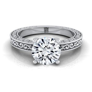 Diamond Solitaire Engagement Ring With Scroll Detail Shank In Platinum