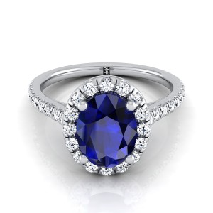 Sapphire Oval Center With Diamond Halo Engagement Ring And Pave Shank In 14k White Gold (3/8 Ct.tw.)