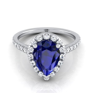 Sapphire Pear Shape Center With Diamond Halo Engagement Ring And Pave Shank In 14k White Gold (3/8 Ct.tw.)