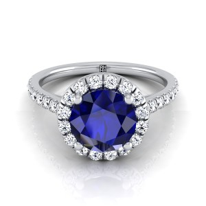 Sapphire Round Center With Diamond Halo Engagement Ring And Pave Shank In 14k White Gold (3/8 Ct.tw.)