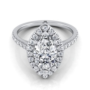 Marquise Diamond Halo Engagement Ring With Pave Shank In 14k White Gold (3/8 Ct.tw.)