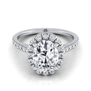 Oval Diamond Halo Engagement Ring With Pave Shank In 14k White Gold (3/8 Ct.tw.)