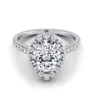 Pear Shape Diamond Halo Engagement Ring With Pave Shank In 14k White Gold (3/8 Ct.tw.)
