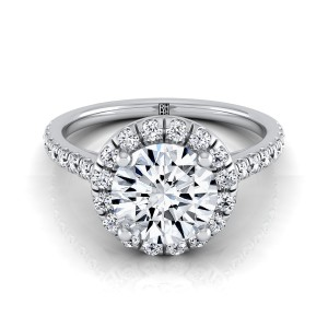 Diamond Halo Engagement Ring With Pave Shank In 18k White Gold (3/8 Ct.tw.)