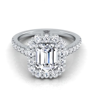 Emerald Cut Diamond Halo Engagement Ring With Pave Shank In 14k White Gold (5/8 Ct.tw.)
