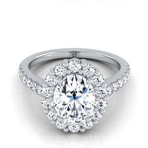 Oval Diamond Halo Engagement Ring With Pave Shank In 14k White Gold (5/8 Ct.tw.)