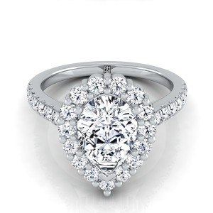 Pear Shape Diamond Halo Engagement Ring With Pave Shank In 14k White Gold (5/8 Ct.tw.)