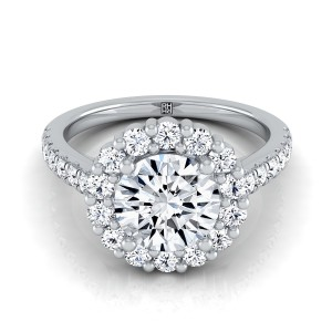 Diamond Halo Engagement Ring With Pave Shank In Platinum (5/8 Ct.tw.)