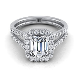 Emerald Cut Diamond Halo Engagement Ring With A Split Shank In 14k White Gold (7/8 Ct.tw.)