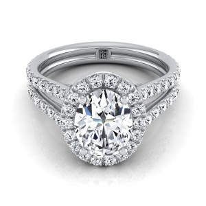 Oval Diamond Halo Engagement Ring With A Split Shank In 14k White Gold (7/8 Ct.tw.)