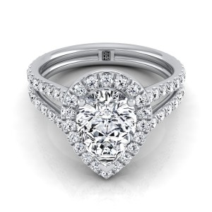 Pear Shape Diamond Halo Engagement Ring With A Split Shank In 14k White Gold (7/8 Ct.tw.)