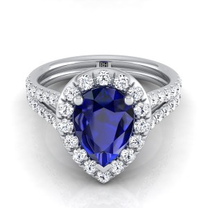 Sapphire Pear Shape With Diamond Halo Engagement Ring And A Split Shank In 14k White Gold (2/3 Ct.tw.)