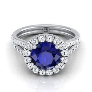 Sapphire Round Center With Diamond Halo Engagement Ring And A Split Shank In 14k White Gold (2/3 Ct.tw.)