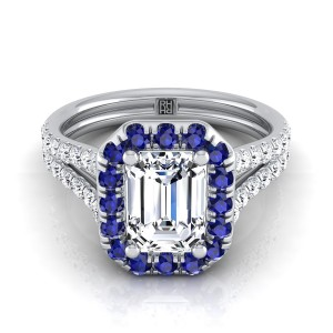 Emerald Cut Engagement Ring With Sapphire-accented Halo In 14k White Gold (3/8 Ct.tw.)