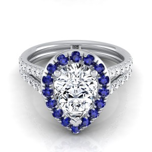 Pear Shape Engagement Ring With Sapphire-accented Halo In 14k White Gold (3/8 Ct.tw.)