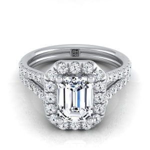 Emerald Cut Diamond Halo Engagement Ring With A Split Shank In 14k White Gold (2/3 Ct.tw.)