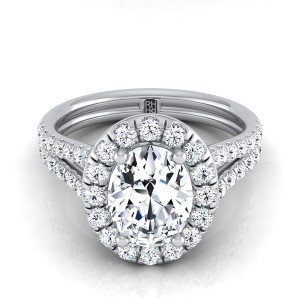 Oval Diamond Halo Engagement Ring With A Split Shank In 14k White Gold (2/3 Ct.tw.)