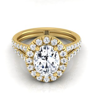 Oval Diamond Halo Engagement Ring With A Split Shank In 18k Yellow Gold (2/3 Ct.tw.)
