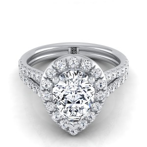 Pear Shape Diamond Halo Engagement Ring With A Split Shank In 14k White Gold (2/3 Ct.tw.)
