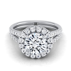 Diamond Halo Engagement Ring With A Split Shank In Platinum (2/3 Ct.tw.)
