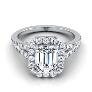 Emerald Cut Diamond Halo Engagement Ring With Semi-split Shank In 14k White Gold (1/2 Ct.tw.)
