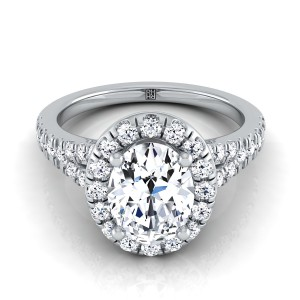 Oval Diamond Halo Engagement Ring With Semi-split Shank In 14k White Gold (1/2 Ct.tw.)