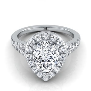 Pear Shape Diamond Halo Engagement Ring With Semi-split Shank In 14k White Gold (1/2 Ct.tw.)