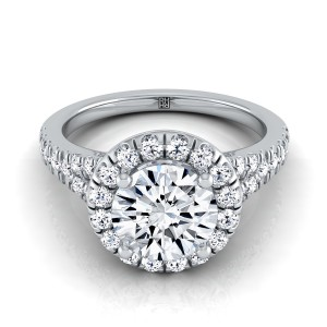 Diamond Halo Engagement Ring With Semi-split Shank In Platinum (1/2 Ct.tw.)