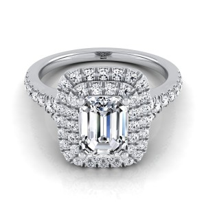 Emerald Cut Diamond Double Halo Engagement Ring With A Pave Shank In 14k White Gold (1/2 Ct.tw.)