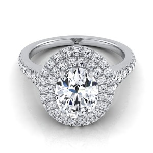 Oval Diamond Double Halo Engagement Ring With A Pave Shank In 14k White Gold (1/2 Ct.tw.)