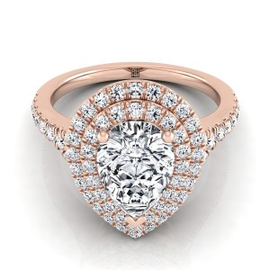 Pear Shape Diamond Double Halo Engagement Ring With A Pave Shank In 14k Rose Gold (1/2 Ct.tw.)